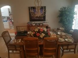 PICTURE BEHIND CHANDELIER WAS REMOVED FROM SALE BY OWNER..SORRY! Nice dining set..matching china cabinet in next photo