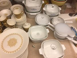 Many covered corning ware, all as new.