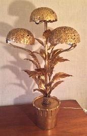 """Mid-century Italian gilt metal hydrangea lamp (28"""" tall)"""