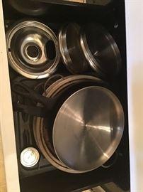 Pots, pans, cookware, cooper clad, aluminum