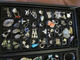 Jewelry, Rings, Southwest Silver, Coral, Lots of Silver Items