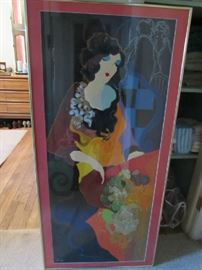 Contemporary or Modern Colorful Tall Lovely Vogue Lady Serigraph