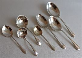 "155 pieces of Towle ""Lady Diana"" sterling flatware - place settings, serving pieces, and baby fork & spoon"