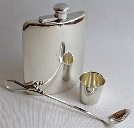 sterling Tiffany & Co. flask, sterling jigger, sterling Danish modern slotted spoon