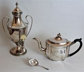 sterling George III coffee urn & tea pot made in London, sterling tea strainer