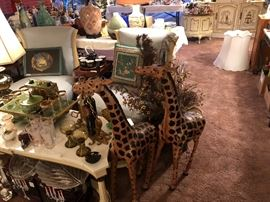 3ft' leather giraffe's--SOLD, console marble tables, out of sight bar sets and novelties, incredible Damaskus silk mid-century chairs,pillows, Chinese motif matching side tables and more lamps and crystal