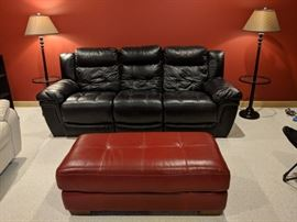 Leather sofa and ottoman'