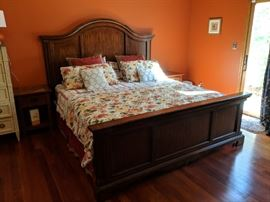 King size bed. (Mattress, box spring and comforter Not for sale)