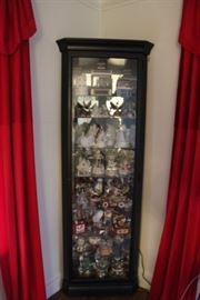 CHINA CABINET FILLED WITH MUSIC BOXES