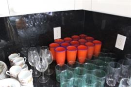 WONDERFUL ORANGE GLASSES TO MATCH DANSK CHINA