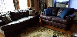 Klaussner Leather Sofa and Loveseat