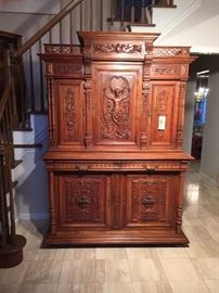Gorgeous antique hand carved cabinet $5,000.00 has additional pieces not shown in picture