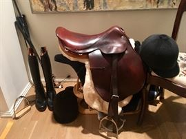 Hermès equestrian saddle , 2 vintage Hermès helmets..& more..