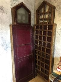 Antique Polish Windows, original paint.  These are wonderful architectural pieces.  Would make a great headboard, lots of possibilities.