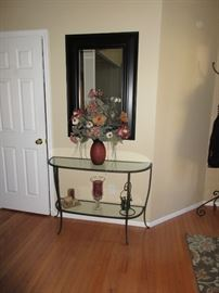 ENTRANCE HALL  TABLE AND MIRROR