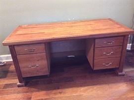 Custom Hand Made Mesquite Wood Desk by Robert Hensarling, Uvalde, Texas..