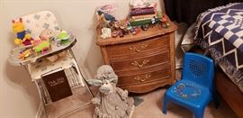 vintage highchair nightstand baby toys sweet valley high books