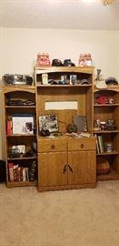 display cabinet office coca cola coke electronics vintage baseball caps walkman yearbooks annuals