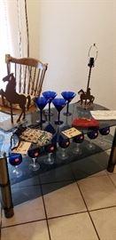 cobalt blue glass stemware horse lamp rustic glass tv stand vintage clutch