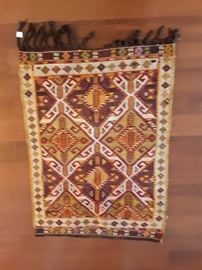 Camel Kilim, rare nomadic decoration. Bright colors! 3'x3' wool on wool.