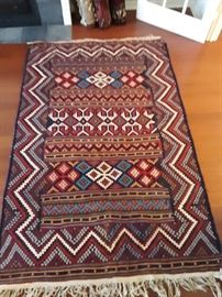 Bahktiari flat weave carpet. 8'x6' area rug. Bright colors!