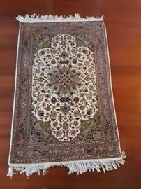 Isfahan, Persian carpet.  3'x5' wool and silk on cotton.  Too many colors to list.  Fine weave and magnificent detail work.
