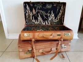 Batik lined leather luggage. Beautiful display pieces, not for travel use.  Hand carried from Bali 30 years ago.