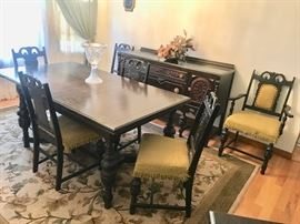 Antique right-sized dining room with table and six chairs plus 3 buffet pieces