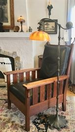 Signed Gustav Stickley Chair;  Tiffany Floor Lamp