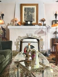 Living Room with Handel Lamps, French Marble Mantle Clock,  Quezel Shade on Handel Floor Lamp Base