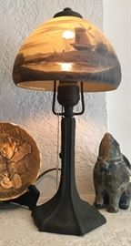 Handel Accent Lamp with Reverse Painted Shade
