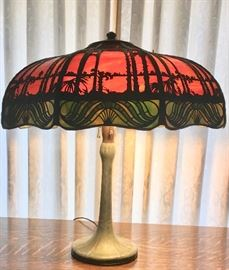 Handel Lamp with Leaded Glass Shade (small repair)