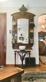 Antique Hall Tree-Style Oak Entry Mirror;  Swan Table; Beaded Bags