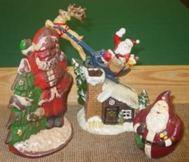Cast Iron Christmas Santa Door Stop & Banks