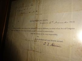 Signed document by John Quincy Adams, November 6, 1822.
