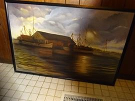 Oil on Canvas by Bennett, Crisfield, Maryland Harbor