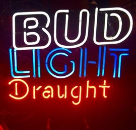 Vintage Bud Light Draught Beautiful red-white-blue Neon