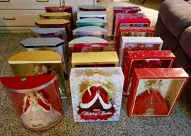 HOLIDAY BARBIES 1995-2014 included 20/25th/50th Anniversary dolls in orig boxes, all in excellent shape