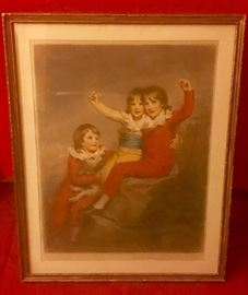 "MEZZOTINT: Pencil Signed 1906 By Elizabeth Guilland ""Childs Christmas"" 24x28"""