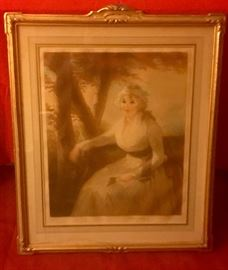 MEZZOTINT pencil signed by Elizabeth Guilland 1908 titled MRS Spiers 24x32'
