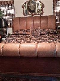 King size leather and wood bed with mattress and box springs
