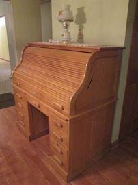 Oak Roll Top Desk ( 2 Piece)