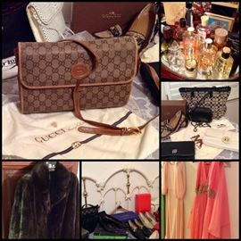 Authentic Gucci, Coach, Michael Kors, Brighton & More.  Perfume, York Mink Jacket & Vintage Gowns