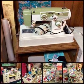 White Sewing Machine, Vintage Sewing Items