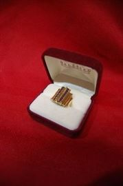 10K Yellow Gold Women's Ring with Saphires, Mid Century Modern Design