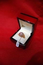 Antique Victorian 10K Yellow Gold Man's Ring with Rubies and Diamonds, Clover Style Setting