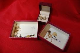 Assorted Scrap Gold Jewelry, Victorian 9K Gold Earrings with Rough Diamonds