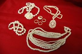 Carved Bone Rings and Necklaces