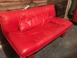 cool mid-century vibe leather loveseat