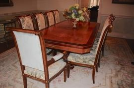 Inlaid Fab Dining Table and 12 Chairs (Head Chairs not shown in the is photo, please see next photo.)